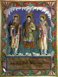 Zu sehen ist ein Bild von Karl dem Großen zwischen den Päpsten Gelasius I. und Gregor I.